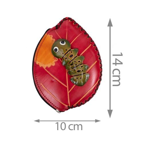 Port-monede piele rosie PM085