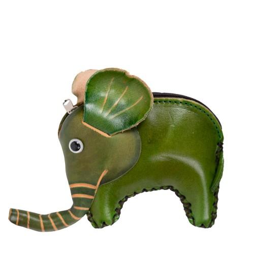 Port-monede piele elefant verde PM088