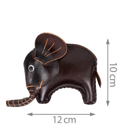 Port-monede piele elefant maro inchis PM091