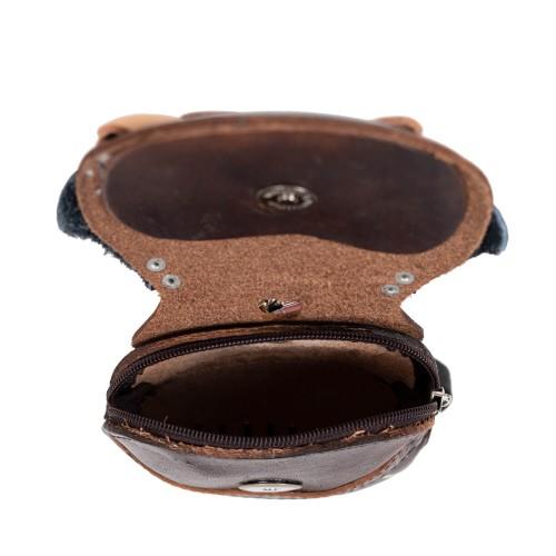 Port-monede piele catel maro inchis PM100