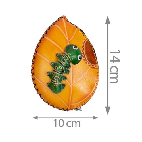 Port-monede piele galben mustar PM143