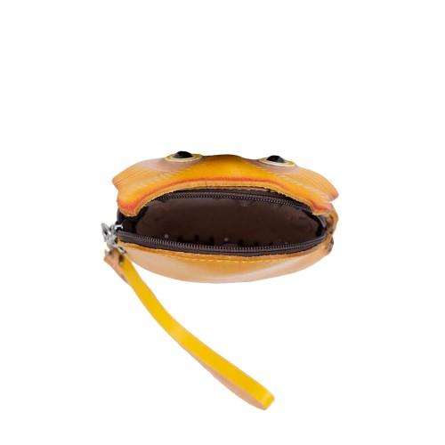 Port-monede piele Bufnita galben mustar PM146