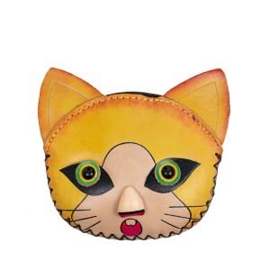 Port-monede piele pisicuta galbena PM149