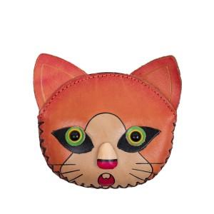Port-monede piele pisicuta oranj PM150