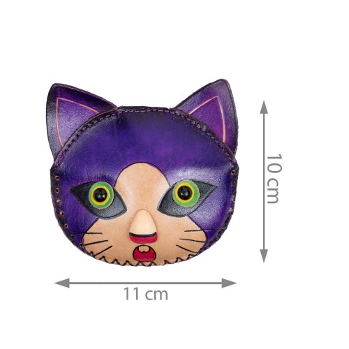 Port-monede piele pisicuta mov PM151