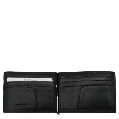 Port-card din piele naturala neagra PT015 Portofele Barbati