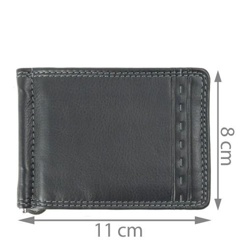 Port-card din piele naturala neagra PT015