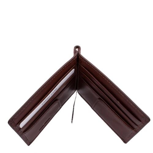 Port-card din piele naturala maro PT016 Portofele Barbati