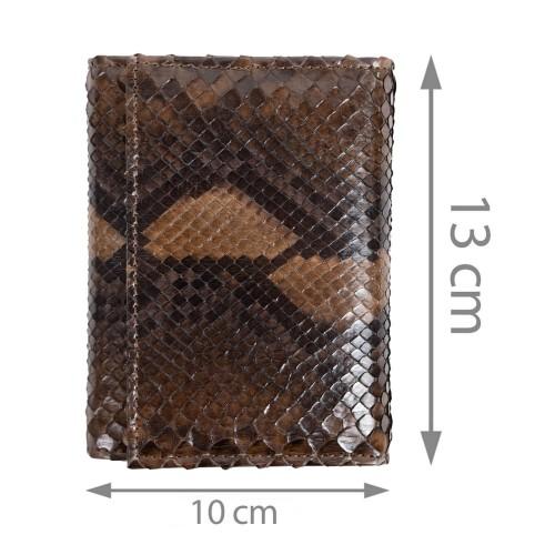 Portofel unisex piele piton maro inchis PT081