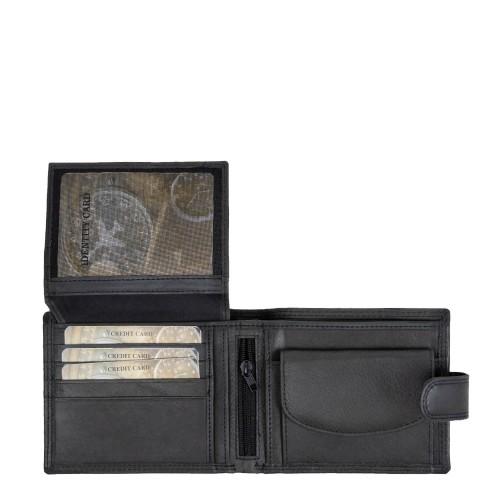 Portofel din piele naturala gri inchis PT095