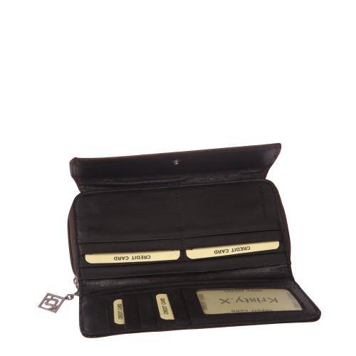 Portofel din piele naturala maro Model PTF010
