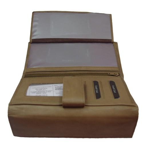 Portofel din piele naturala taupe PTF015