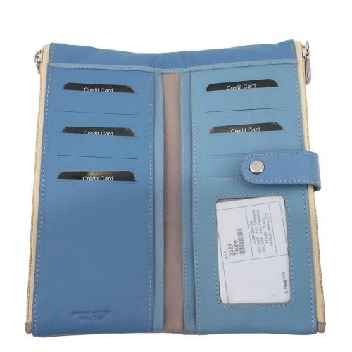 Portofel din piele naturala bej/bleu PTF022