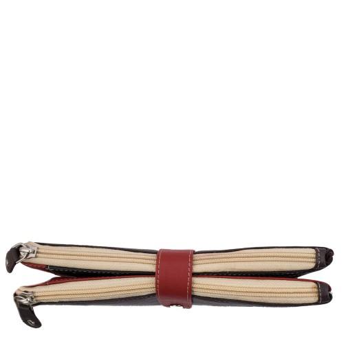 Portofel din piele naturala maro/rosu PTF023 Portofele Femei