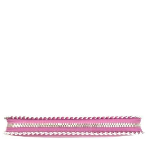 Portofel din piele naturala roz cu lant Model PTF025
