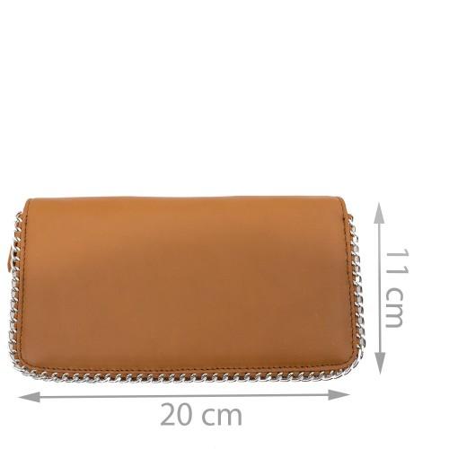 Portofel din piele naturala maro deschis cu lant Model PTF026