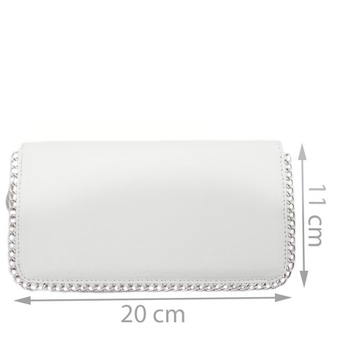 Portofel din piele naturala alb cu lant Model PTF027 Portofele Femei