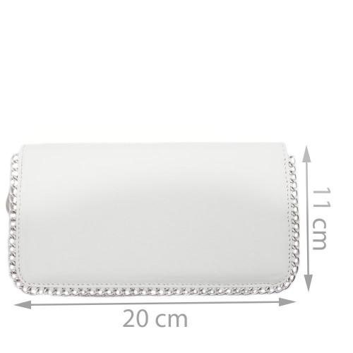 Portofel din piele naturala alb cu lant Model PTF027