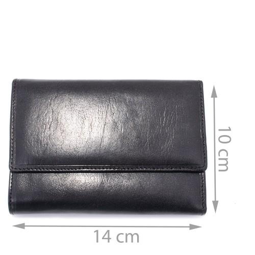 Portofel din piele naturala negru Model PTF030