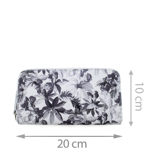 Portofel din piele naturala cu imprimeu floral PTF034