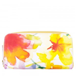 Portofel din piele naturala cu imprimeu floral PTF035 Portofele Femei