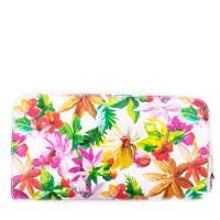 Portofel din piele naturala cu imprimeu floral PTF036