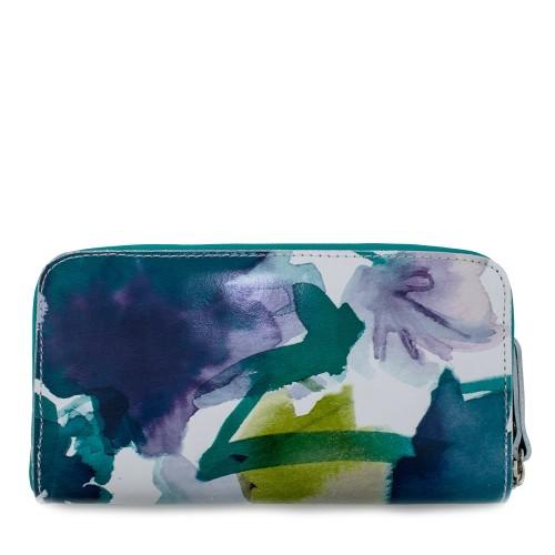 Portofel din piele naturala cu imprimeu floral PTF037