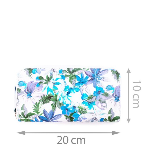 Portofel din piele naturala cu imprimeu floral PTF038