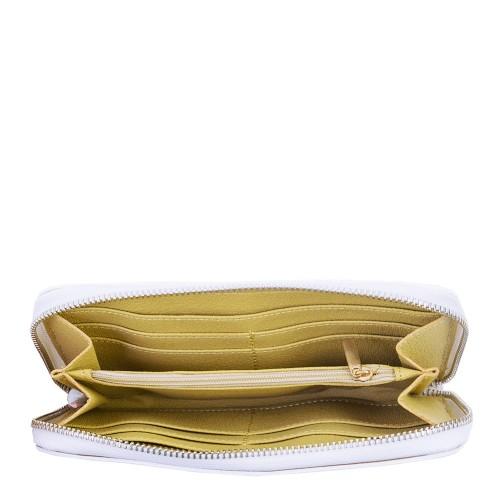Portofel din piele naturala cu imprimeu floral PTF055