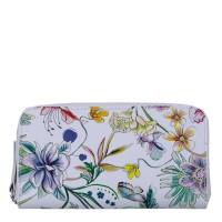 Portofel alb din piele naturala cu imprimeu floral PTF057- Portofele Femei