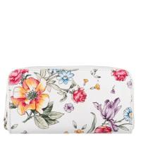 Portofel alb din piele naturala cu imprimeu floral PTF057