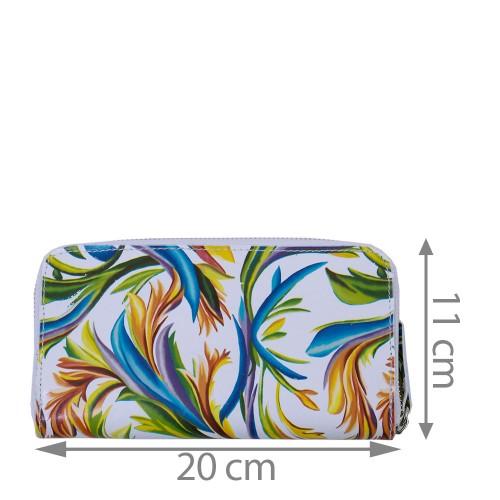 Portofel alb din piele naturala cu imprimeu PTF058- Portofele Femei