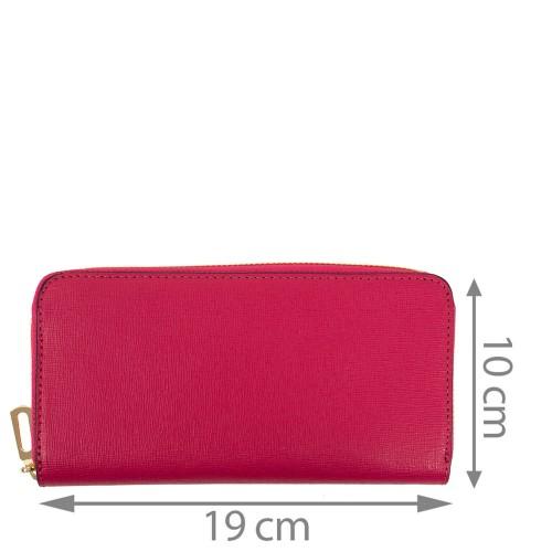 Portofel din piele naturala roz PTF186