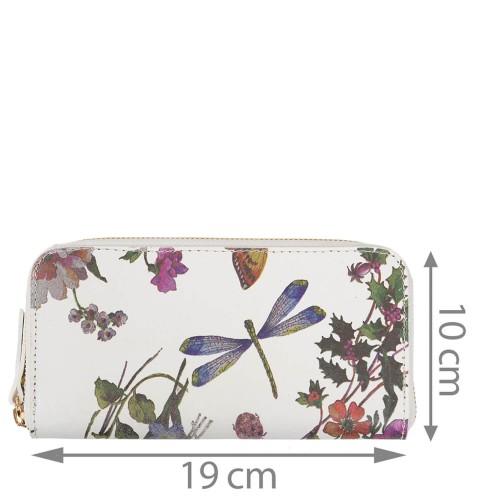 Portofel dama piele alba/imprimeu floral PTF191