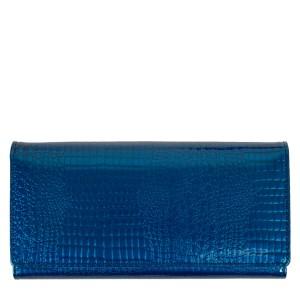 Portofel piele lacuita imprimeu albastru PTF196