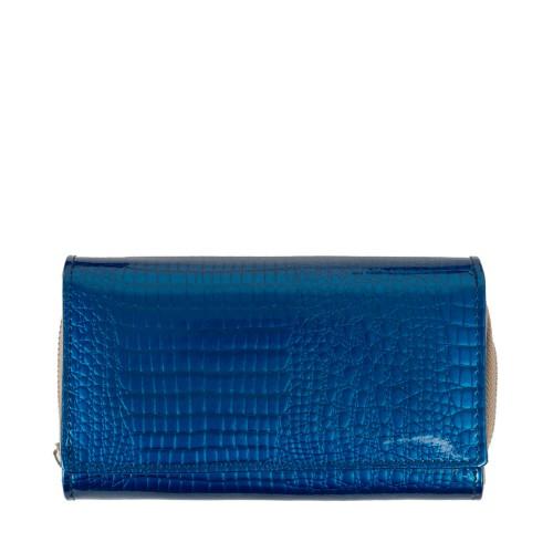 Portofel piele lacuita imprimeu albastru PTF197
