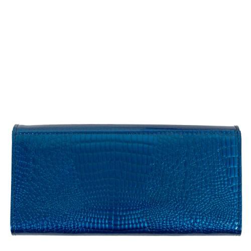 Portofel piele lacuita /imprimeu albastru PTF198
