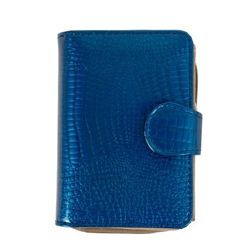 Portofel piele lacuita /imprimeu albastru PTF200