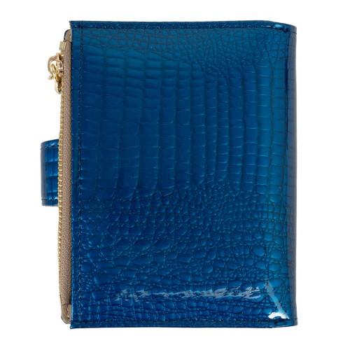 Portofel piele lacuita /imprimeu albastru PTF201