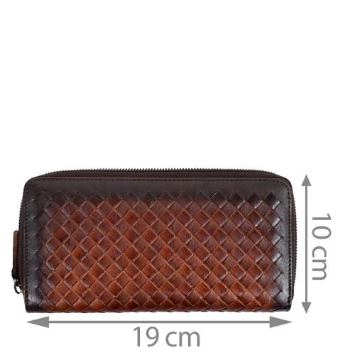 Portofel din piele maro impletit PTF211