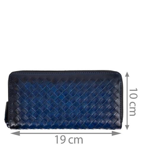 Portofel din piele bleumarin impletit PTF212