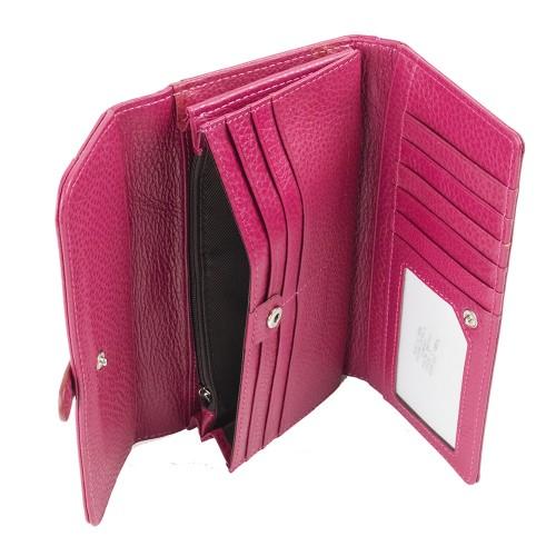 Portofel piele naturala roz PTF067