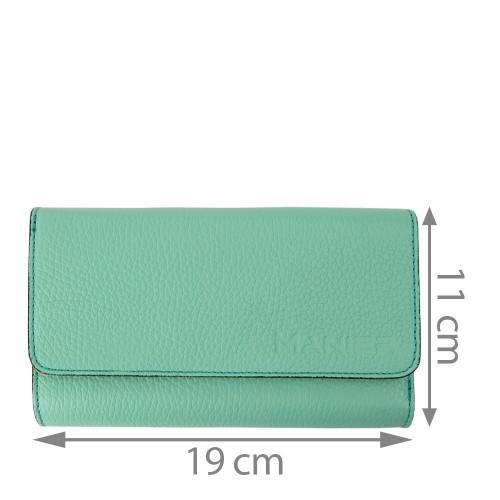 Portofel piele verde turcoaz PTF100