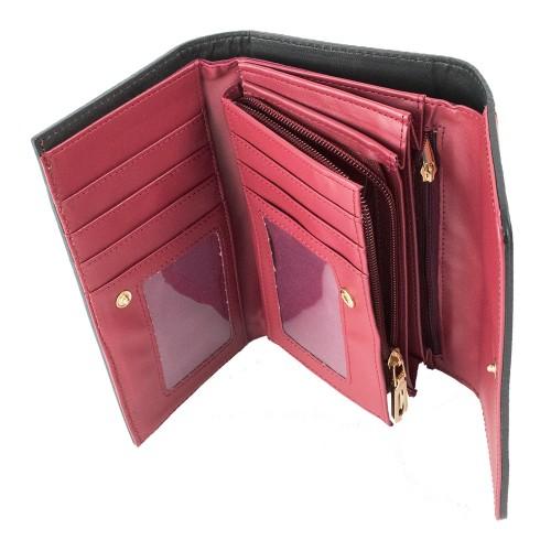 Portofel piele rosu inchis PTF101