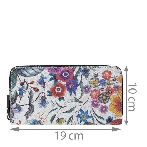 Portofel piele alba flori mari PTF108