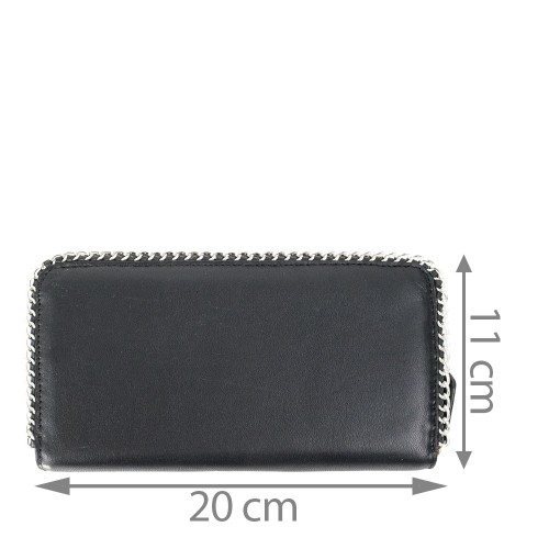 Portofel din piele neagra cu lant PTF112