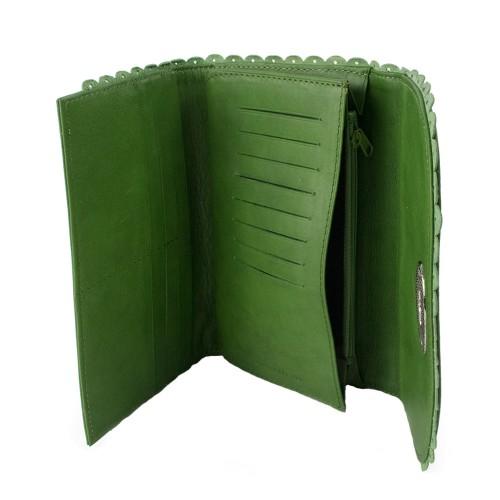 Portofel din piele naturala verde PTF113