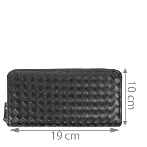 Portofel din piele impletita neagra PTF121