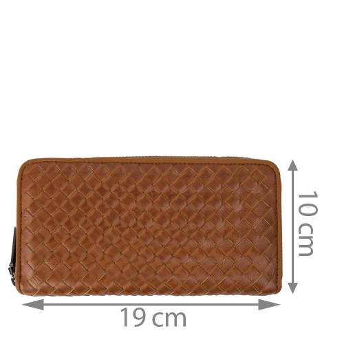 Portofel din piele impletita maro PTF122