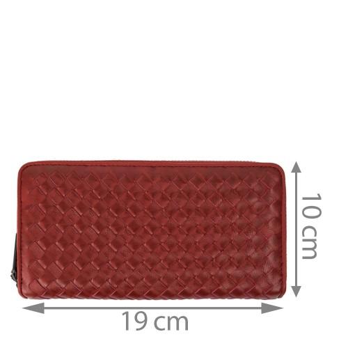 Portofel din piele impletita rosu inchis PTF123